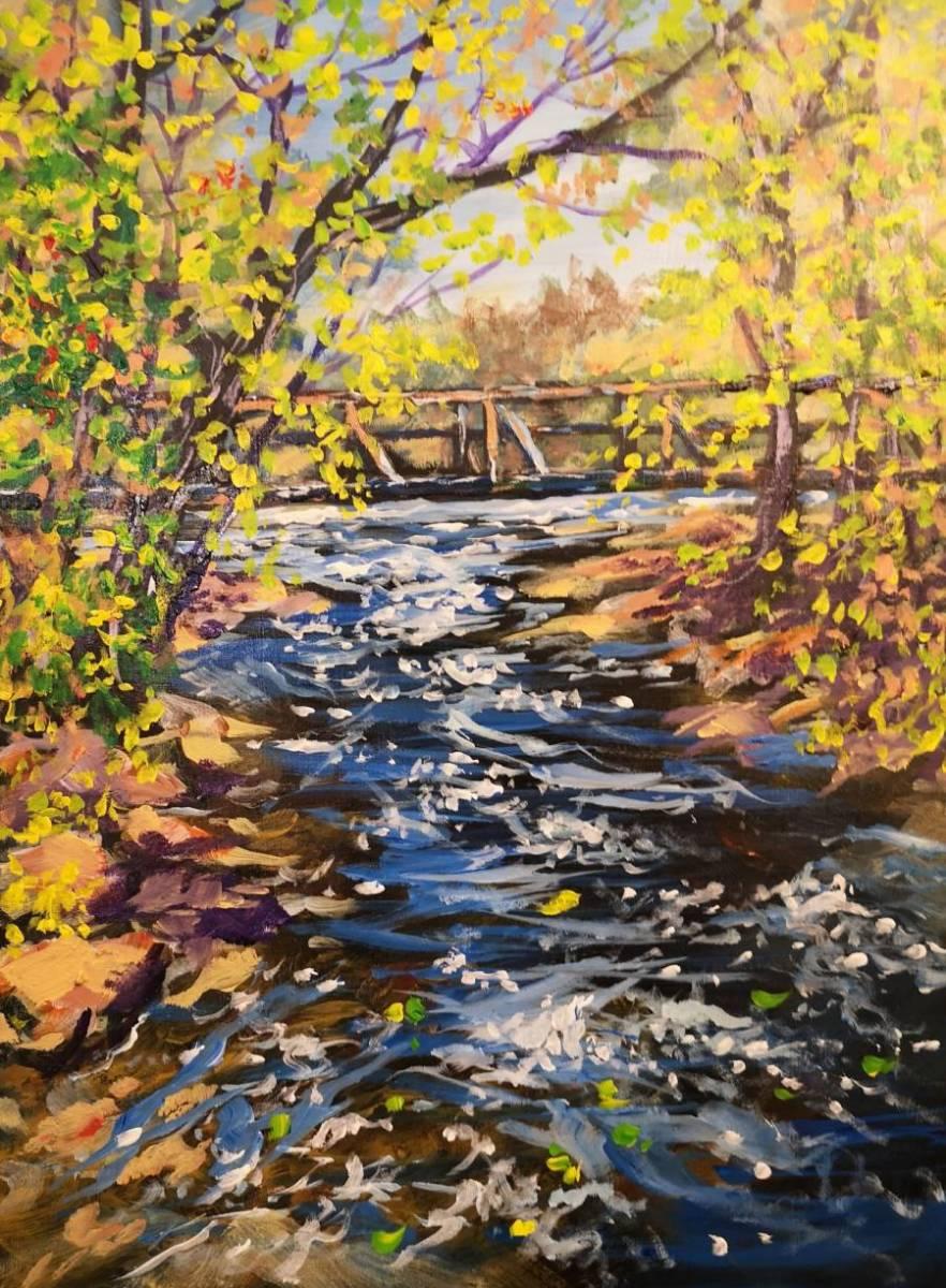Footbridge-Blakeney  16x20  acrylic on wood  Sold